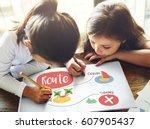 kids playing treasure hunt... | Shutterstock . vector #607905437