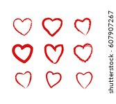 set of hand drawn hearts in... | Shutterstock .eps vector #607907267