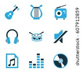 multimedia colored icons set.... | Shutterstock .eps vector #607912859