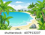 illustration of a tropical... | Shutterstock .eps vector #607913237