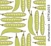 seamless pattern with green peas | Shutterstock .eps vector #607916315