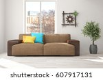white room with sofa and urban... | Shutterstock . vector #607917131