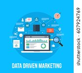 data driven marketing  business ... | Shutterstock .eps vector #607924769