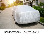 a car with cover sheet for... | Shutterstock . vector #607935611