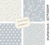 set of 4 vintage seamless... | Shutterstock .eps vector #607936049
