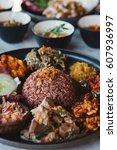 nasi campur  asian dish made of ...   Shutterstock . vector #607936997