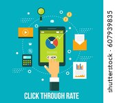 click through rate  hand... | Shutterstock .eps vector #607939835