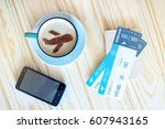 cup of coffee with the airplane ...   Shutterstock . vector #607943165