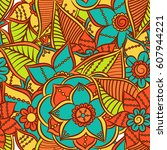 zentangle abstract flowers.... | Shutterstock .eps vector #607944221
