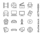 films and movies line icon set. ... | Shutterstock .eps vector #607944884