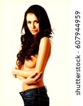 Small photo of Shirtless woman alluring in jeans
