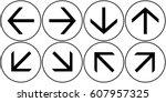 arrows set black. vector. | Shutterstock .eps vector #607957325