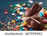 delicious chocolate easter eggs ... | Shutterstock . vector #607959341