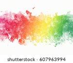 watercolor rainbow border   Shutterstock . vector #607963994