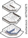 3d illustration isometric plan... | Shutterstock . vector #607965875