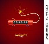 detonate dynamite bomb stick... | Shutterstock .eps vector #607967315