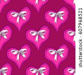 seamless pattern with pink...   Shutterstock .eps vector #607968521