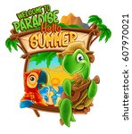 hello summer cartoon | Shutterstock .eps vector #607970021