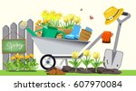 beginning of basic gardening.... | Shutterstock .eps vector #607970084