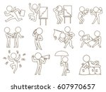 vector set of twelve business... | Shutterstock .eps vector #607970657