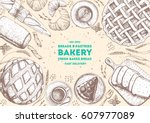 bakery top view frame.... | Shutterstock .eps vector #607977089