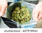 bag of cannabis | Shutterstock . vector #607978961