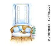 by seaside room | Shutterstock . vector #607981229