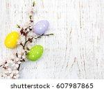 easter eggs and cherries... | Shutterstock . vector #607987865