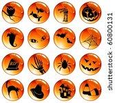 set of 16 black on orange... | Shutterstock .eps vector #60800131
