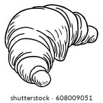 a french pastry croissant hand... | Shutterstock .eps vector #608009051