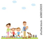 cityscape and family | Shutterstock .eps vector #608010035