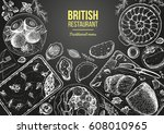 british cuisine top view frame. ... | Shutterstock .eps vector #608010965