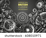 british cuisine top view frame. ... | Shutterstock .eps vector #608010971