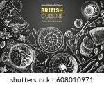 british cuisine top view frame. ... | Shutterstock .eps vector #608010971