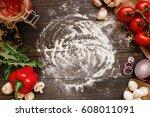 cooking pizza. pizza... | Shutterstock . vector #608011091