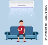 home air conditioning  room... | Shutterstock .eps vector #608014007