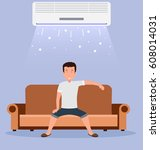 home air conditioning  room... | Shutterstock .eps vector #608014031