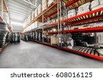 warehouse industrial goods.... | Shutterstock . vector #608016125