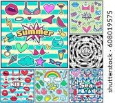 fashion summer patch badges... | Shutterstock .eps vector #608019575