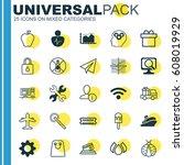 set of 25 universal editable... | Shutterstock .eps vector #608019929