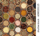 herb and spice seasoning in... | Shutterstock . vector #608020115