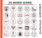 set of 25 universal editable... | Shutterstock .eps vector #608020805