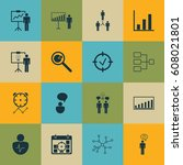 set of 16 management icons.... | Shutterstock .eps vector #608021801