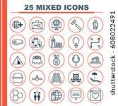 set of 25 universal editable... | Shutterstock .eps vector #608022491