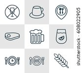 set of 9 meal icons. includes... | Shutterstock .eps vector #608022905