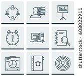 set of 9 project management... | Shutterstock .eps vector #608022911