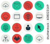 set of 16 internet icons.... | Shutterstock .eps vector #608023169