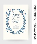 wedding floral card  wedding... | Shutterstock .eps vector #608023361