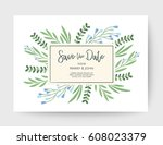wedding floral card  wedding... | Shutterstock .eps vector #608023379