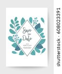 wedding floral card  wedding... | Shutterstock .eps vector #608023391
